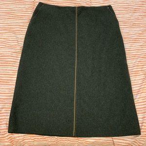 Green wool j Crew skirt EUC